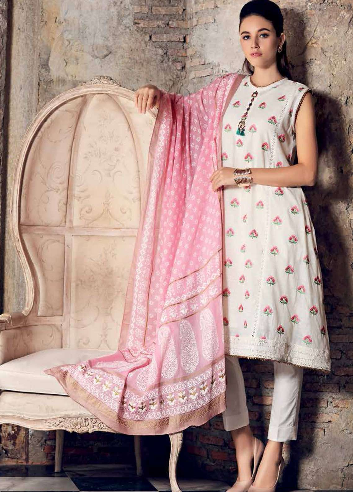 Gul Ahmed Embroidered Jacquard Unstitched 3 Piece Suit GA19E FE-228 - Eid Collection