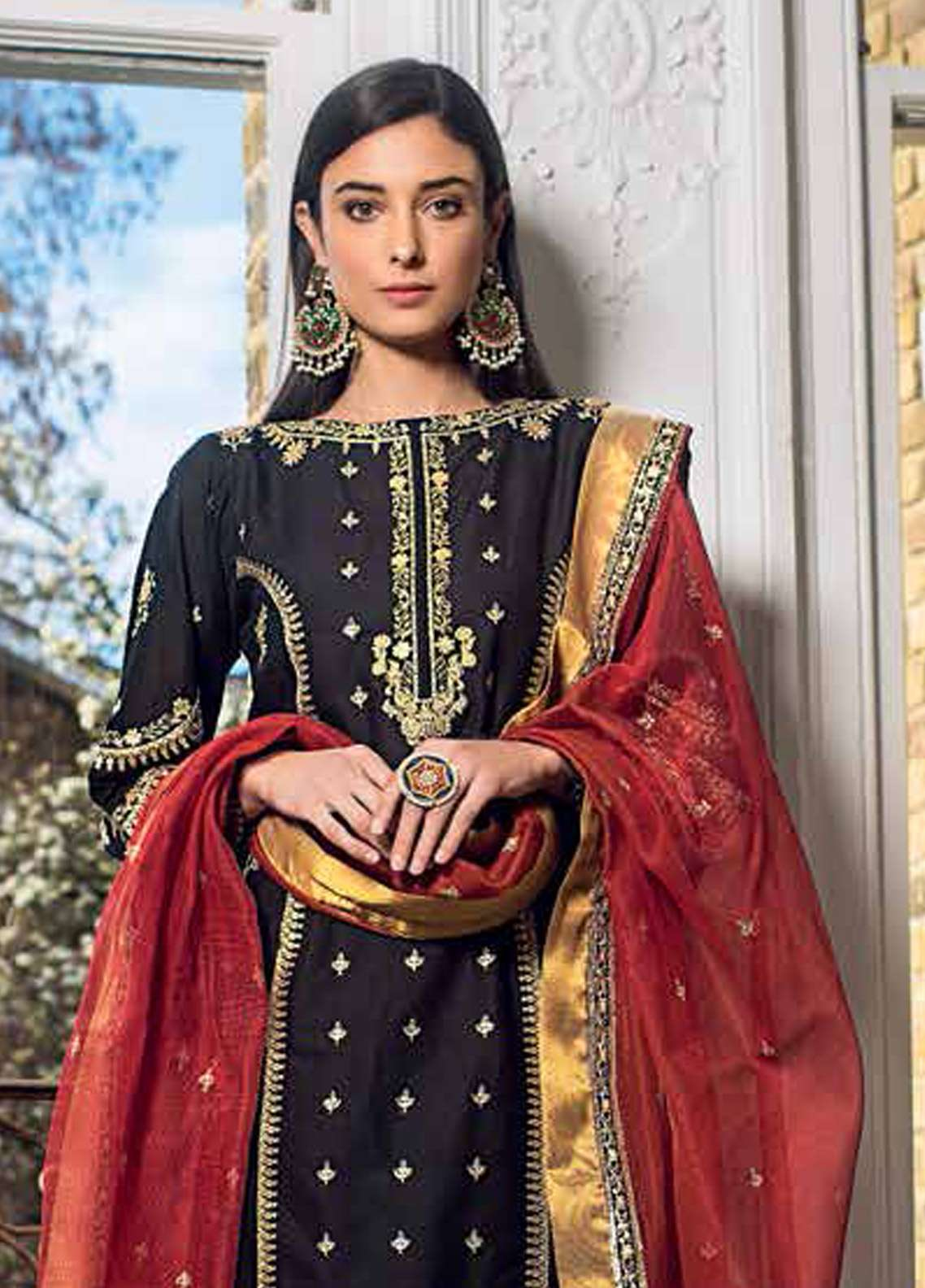 Gul Ahmed Embroidered Jacquard Unstitched 3 Piece Suit GA19E FE-237 - Eid Collection