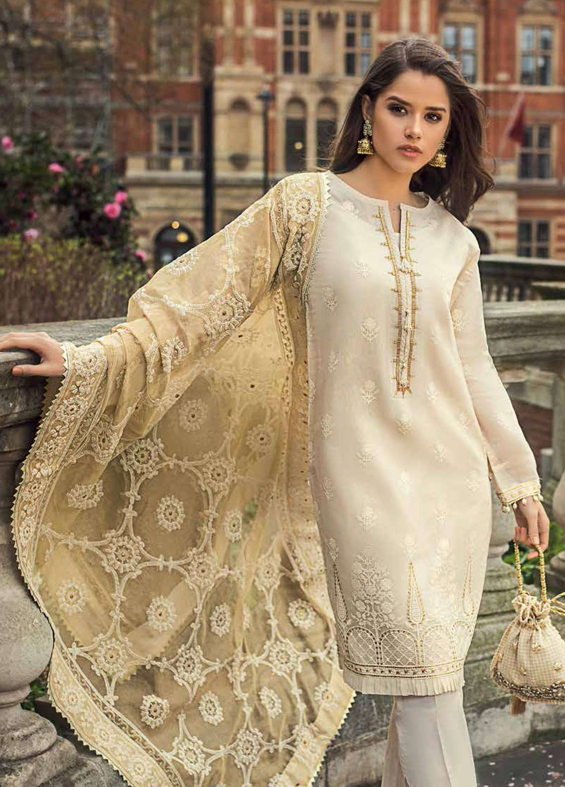406a9b33fa Gul Ahmed Embroidered Jacquard Unstitched 3 Piece Suit GA19E FE-239 - Eid  Collection