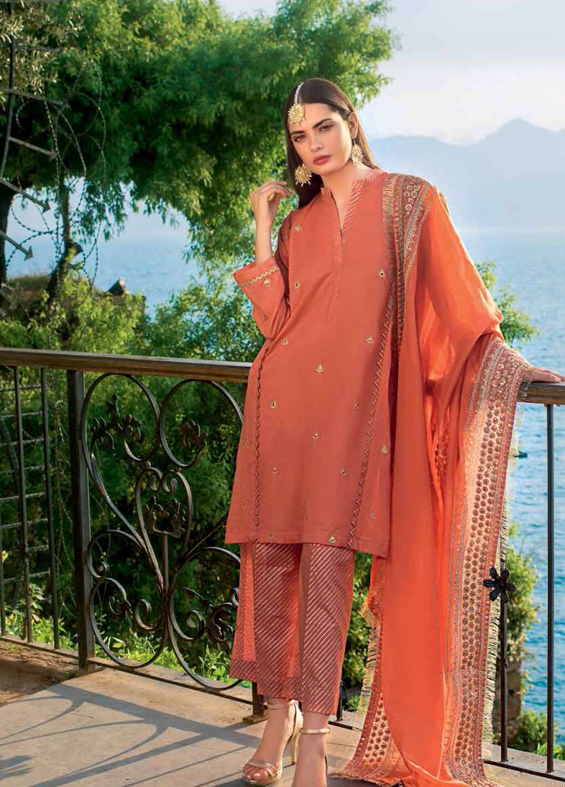 Gul Ahmed Embroidered Lawn Unstitched 3 Piece Suit GA19E FE-243 - Eid Collection