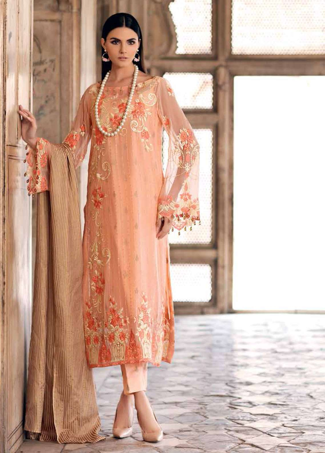 Gul Ahmed Embroidered Lawn Unstitched 3 Piece Suit GA19E FE-252 - Eid Collection