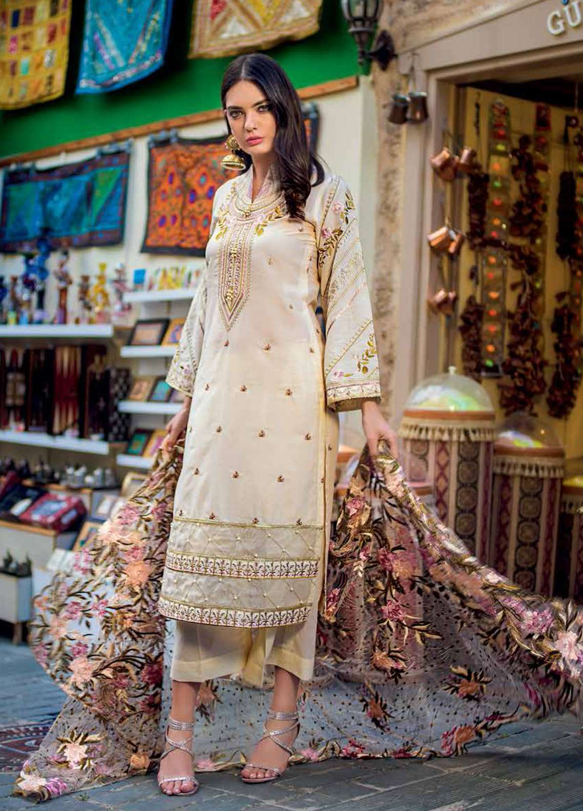 Gul Ahmed Embroidered Lawn Unstitched 3 Piece Suit GA19E FE-256 - Eid Collection
