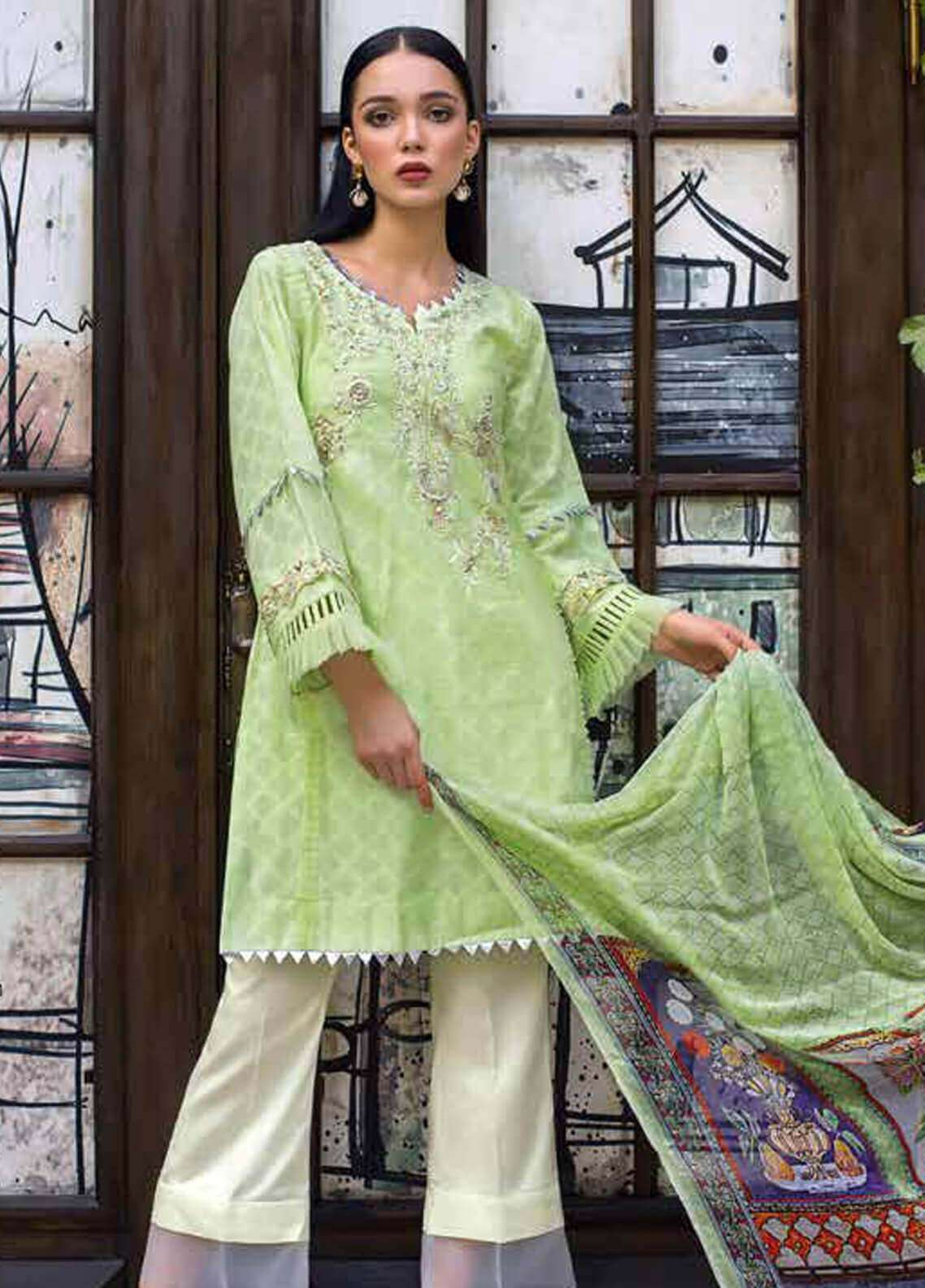 Gul Ahmed Embroidered Cotton Unstitched 3 Piece Suit GA19FB PS-05 Spaded Jade - Formal Collection