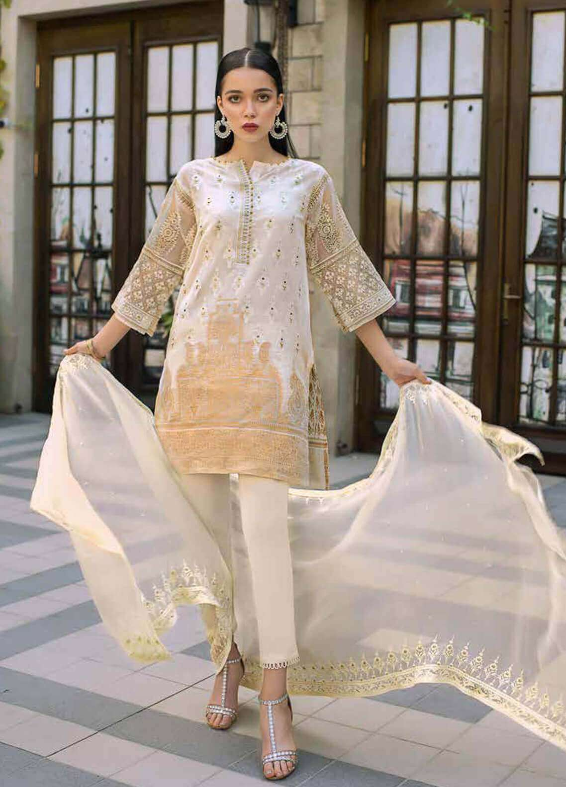 Gul Ahmed Embroidered Cotton Unstitched 3 Piece Suit GA19FB PS-08 Woven Caramel - Formal Collection