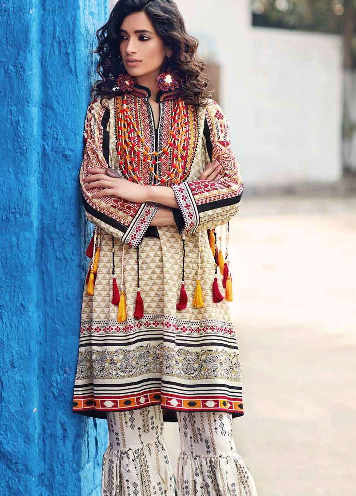 Gul Ahmed Gypsy Embroidered Lawn Unstitched 2 Piece Suit GAG19L GT-14 B - Spring / Summer Collection