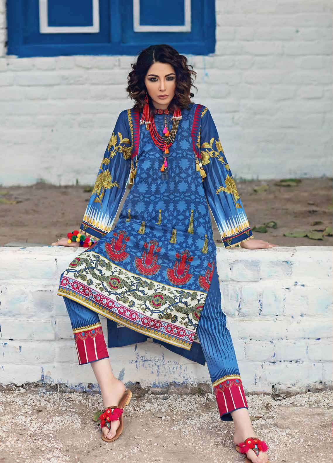 Gul Ahmed Gypsy Printed Lawn Unstitched 2 Piece Suit GAG19L GT-15 A - Spring / Summer Collection