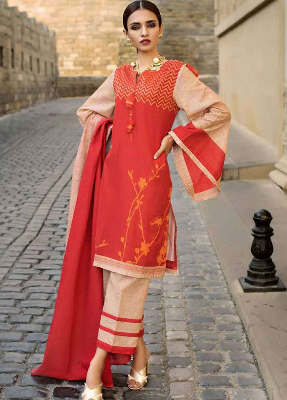 Gul Ahmed Embroidered Khaddar Unstitched 3 Piece Suit GA18W K45B - Winter Collection