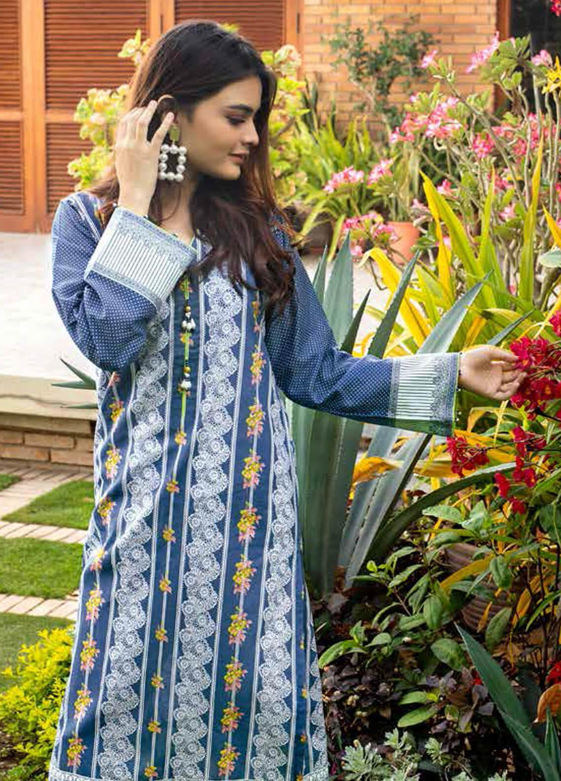 Gul Ahmed Printed Lawn Unstitched 3 Piece Suit (Two Shirts & One Bottom) GA19M CL-640 - Spring / Summer Collection