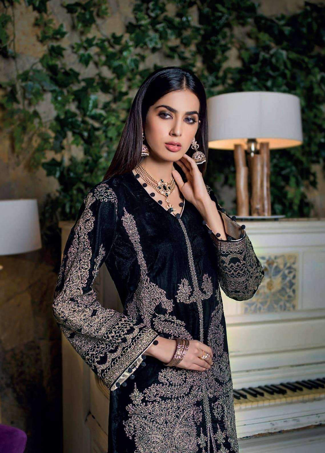 Gul Ahmed Embroidered Velvet Unstitched 3 Piece Suit GA18V VLT 07 - Noor-e-Chasham Collection