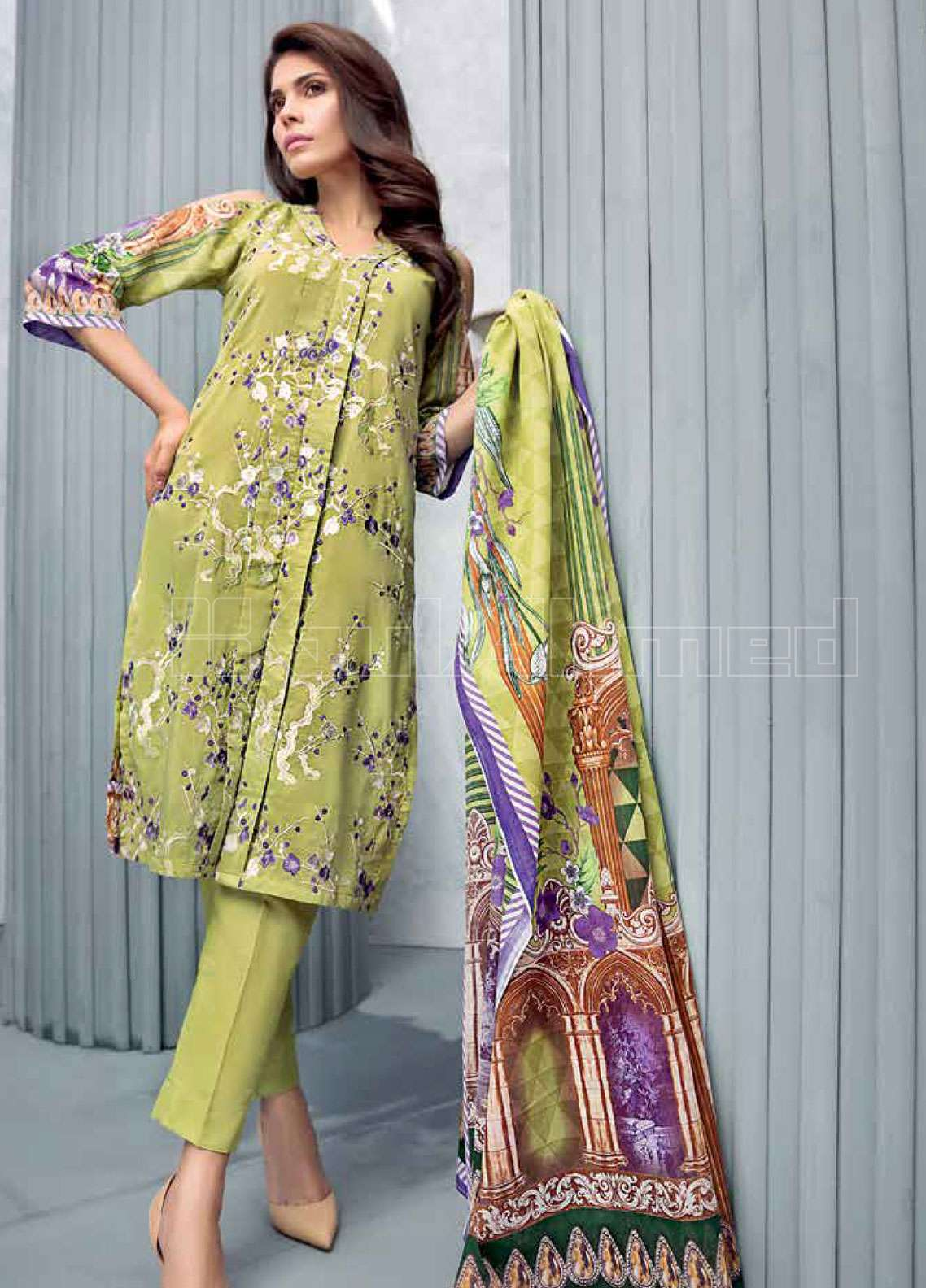 Gul Ahmed Embroidered Cotton Silk Unstitched 3 Piece Suit GAE19L CLS-437 - Spring / Summer Collection