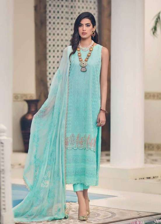 Gul Ahmed Embroidered Swiss Voile Unstitched 3 Piece Suit GAP19L LSV-01 - Spring / Summer Collection