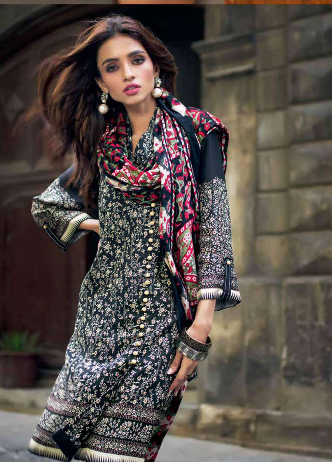 Gul Ahmed Printed Pashmina Unstitched 3 Piece Suit GA18W AP14 - Winter Collection