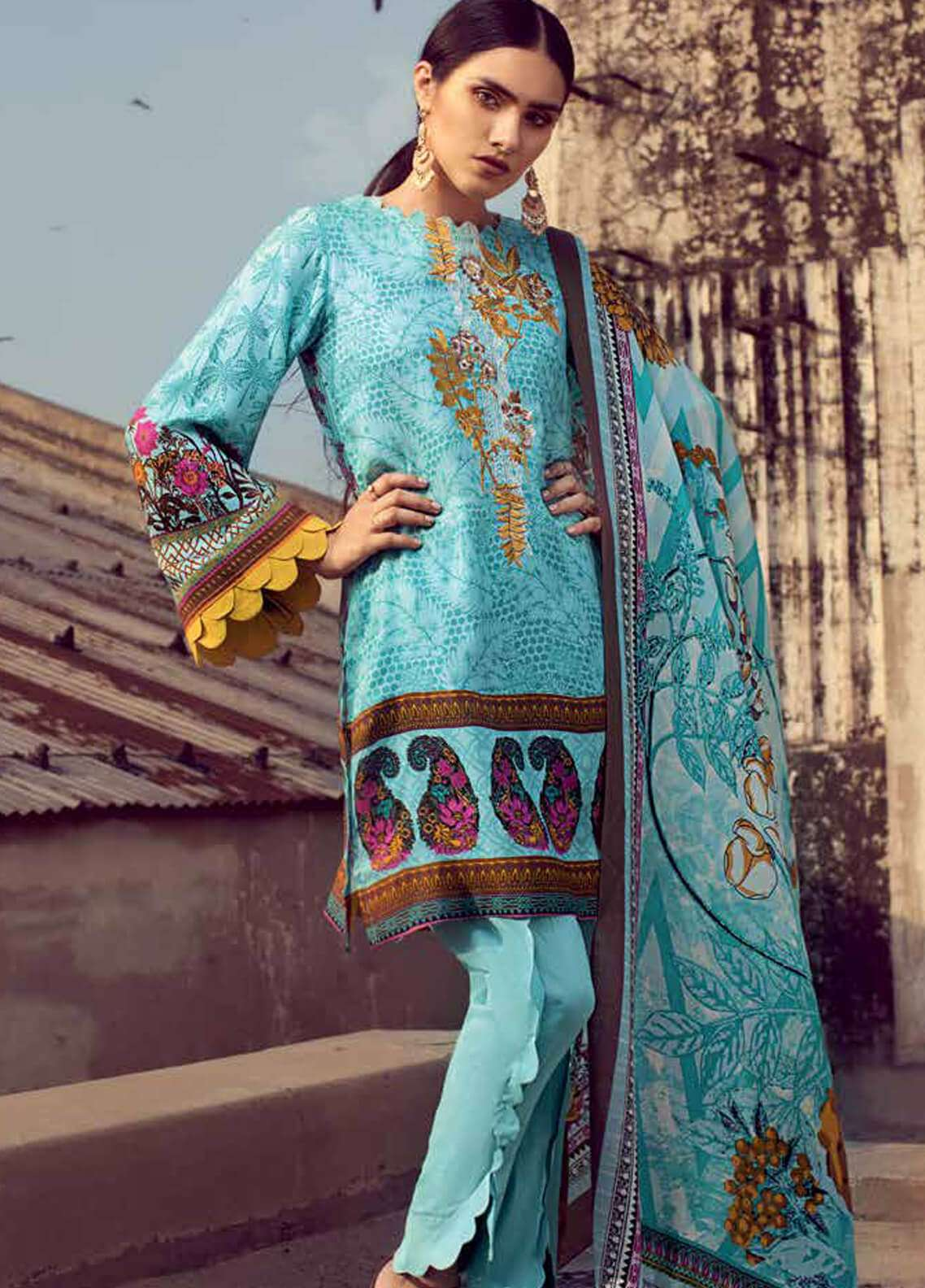 Gul Ahmed Embroidered Pashmina Unstitched 3 Piece Suit GA18W P90 - Winter Collection