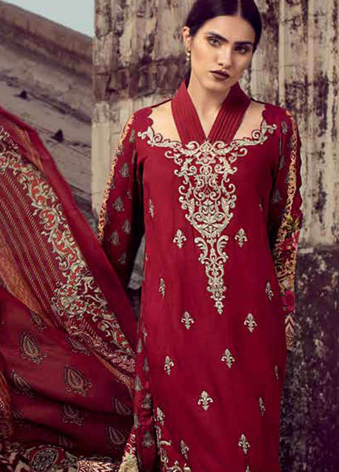 Gul Ahmed Embroidered Pashmina Unstitched 3 Piece Suit GA18W P94 - Winter Collection