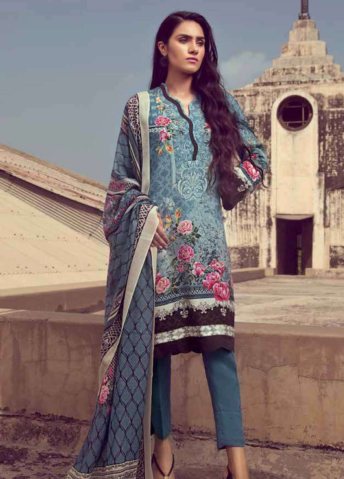 Gul Ahmed Printed Pashmina Unstitched 3 Piece Suit GA18W P95 - Winter Collection