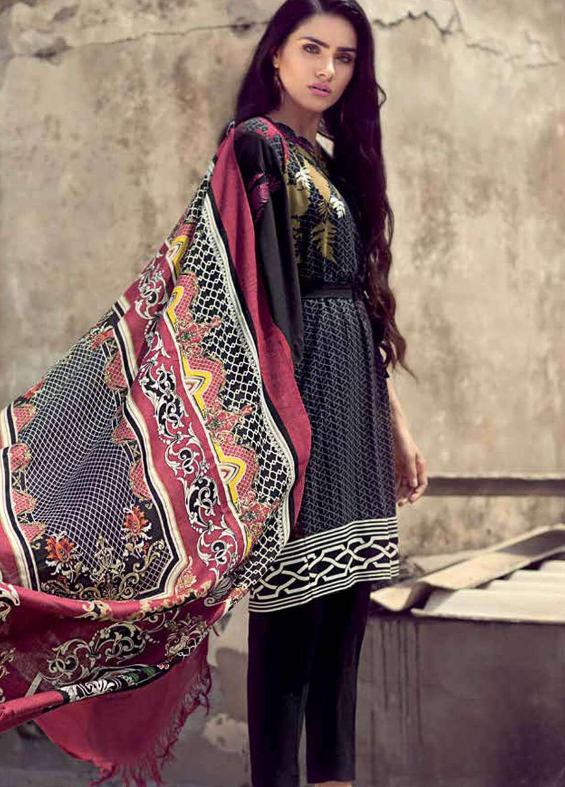 Gul Ahmed Embroidered Pashmina Unstitched 3 Piece Suit GA18W PSM02 - Winter Collection