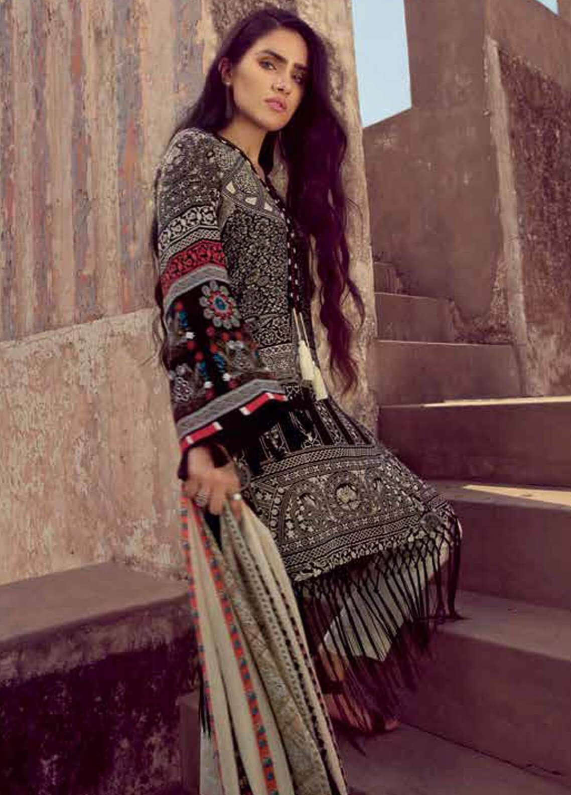 Gul Ahmed Embroidered Pashmina Unstitched 3 Piece Suit GA18W PSM04 - Winter Collection