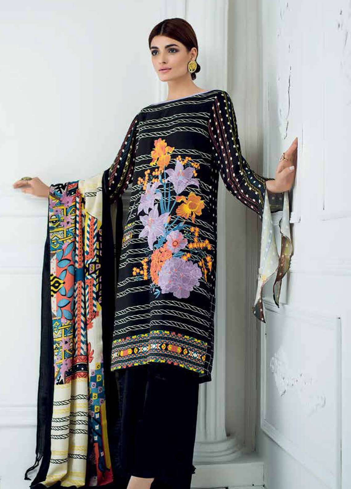 Gul Ahmed Embroidered Silk Unstitched 3 Piece Suit GA18W SWM04 - Winter Collection