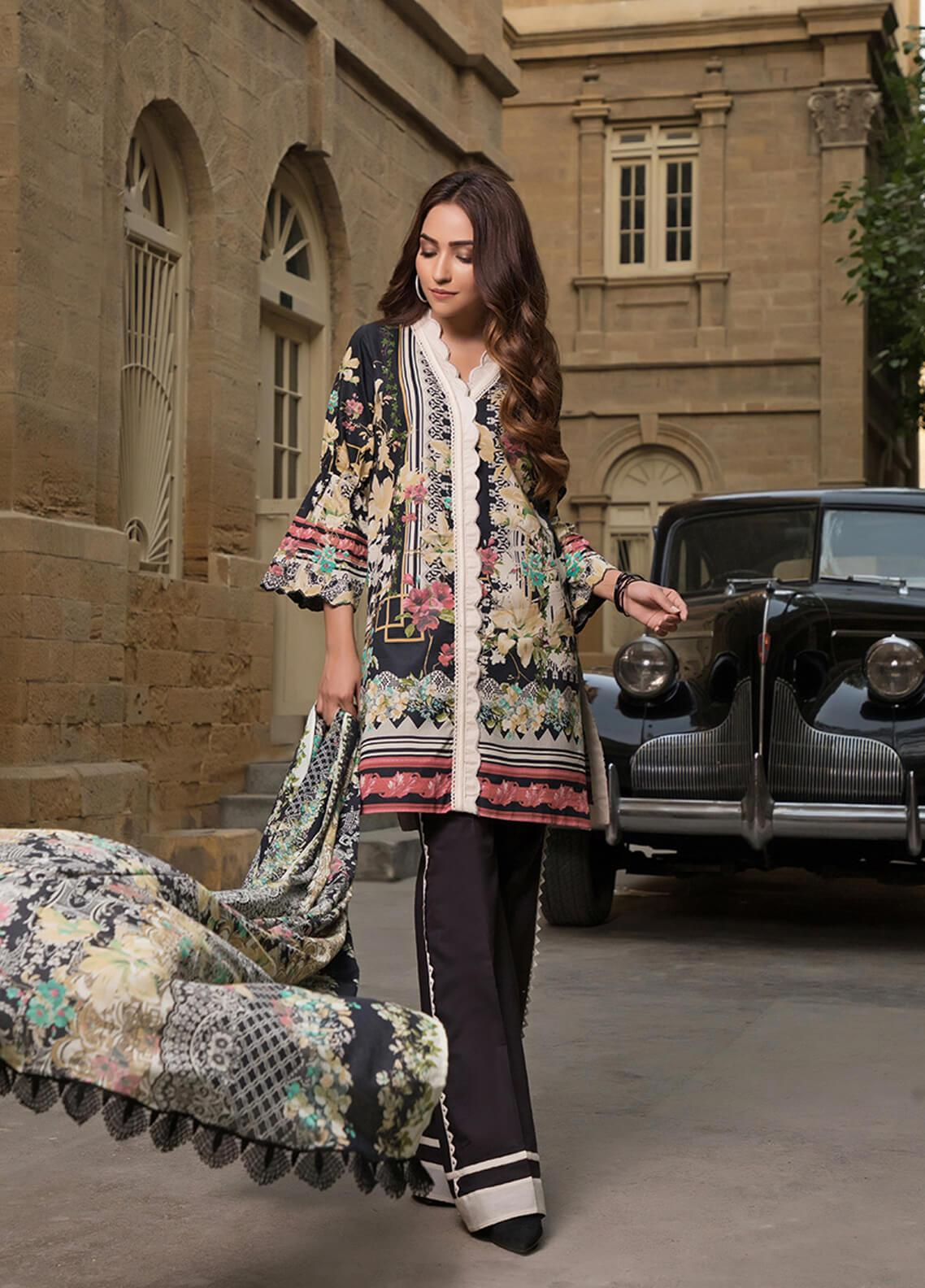 Gul Mohar Printed Lawn Unstitched 3 Piece Suit GM19L 10A - Festive Collection