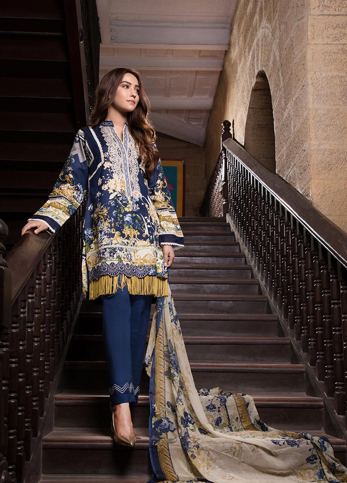 Gul Mohar Printed Lawn Unstitched 3 Piece Suit GM19L 1B - Festive Collection