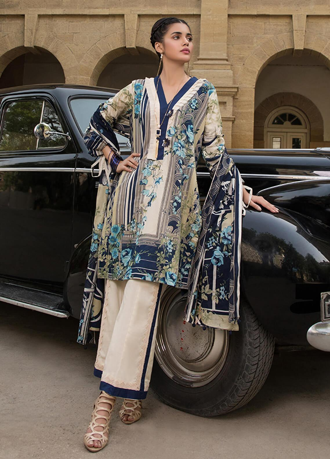 Gul Mohar Printed Lawn Unstitched 3 Piece Suit GM19L 3B - Festive Collection