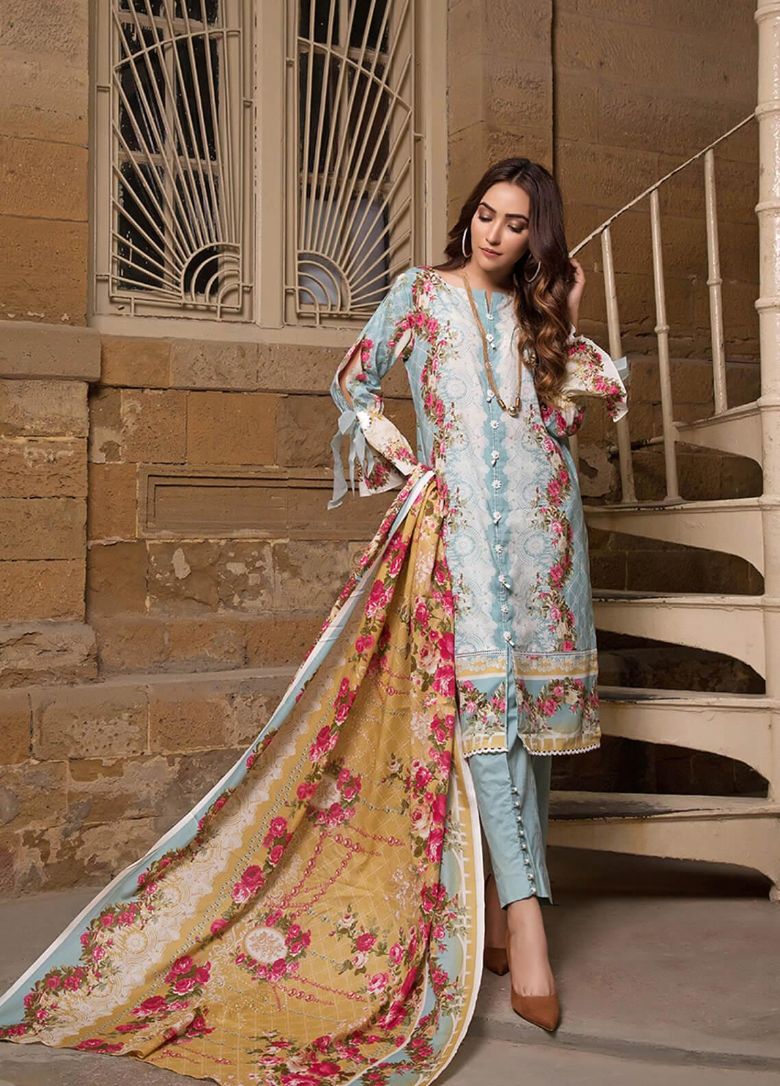 Gul Mohar Printed Lawn Unstitched 3 Piece Suit GM19L 6B - Festive Collection