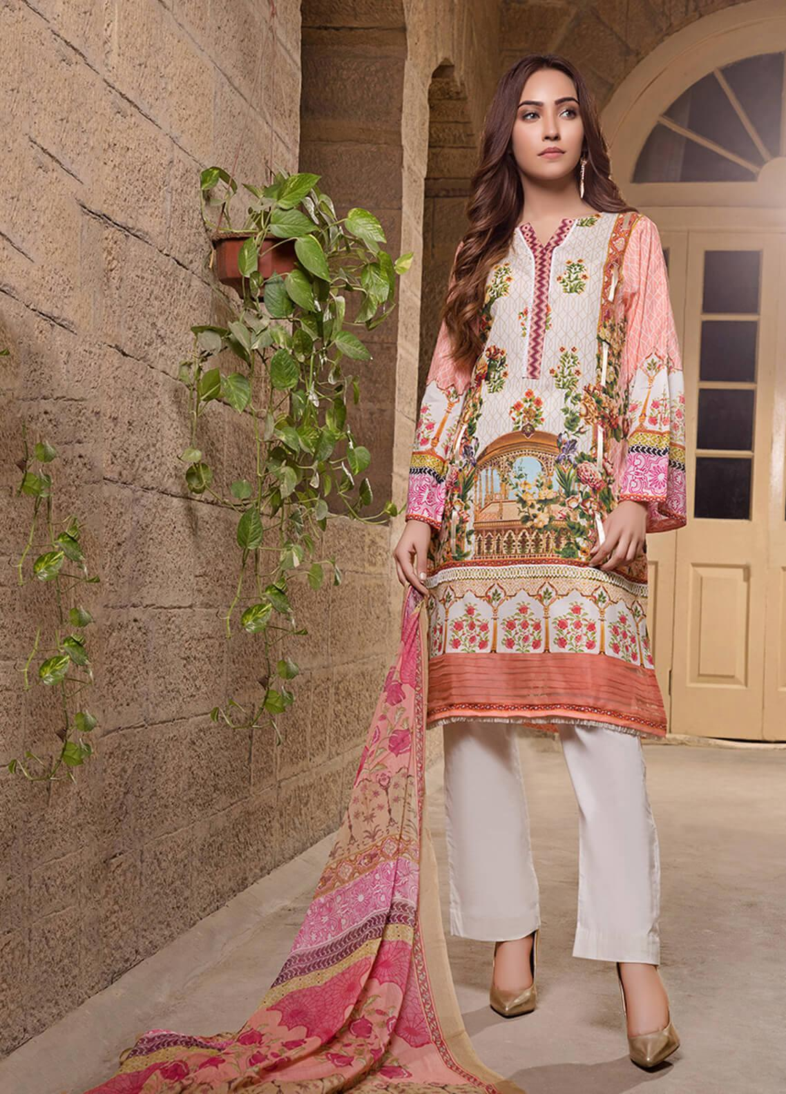 Gul Mohar Printed Lawn Unstitched 3 Piece Suit GM19L 7B - Festive Collection