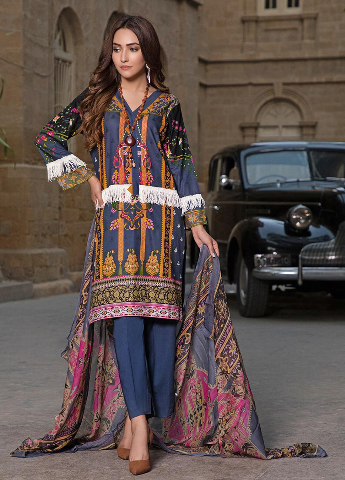 Gul Mohar Printed Lawn Unstitched 3 Piece Suit GM19L 8B - Festive Collection