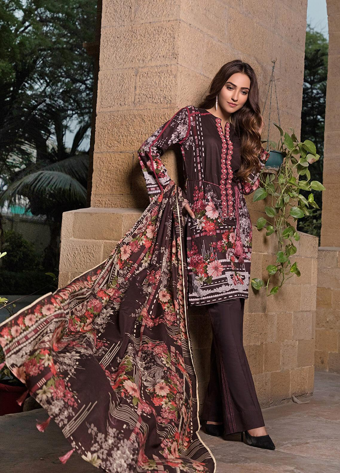 Gul Mohar Printed Lawn Unstitched 3 Piece Suit GM19L 9A - Festive Collection