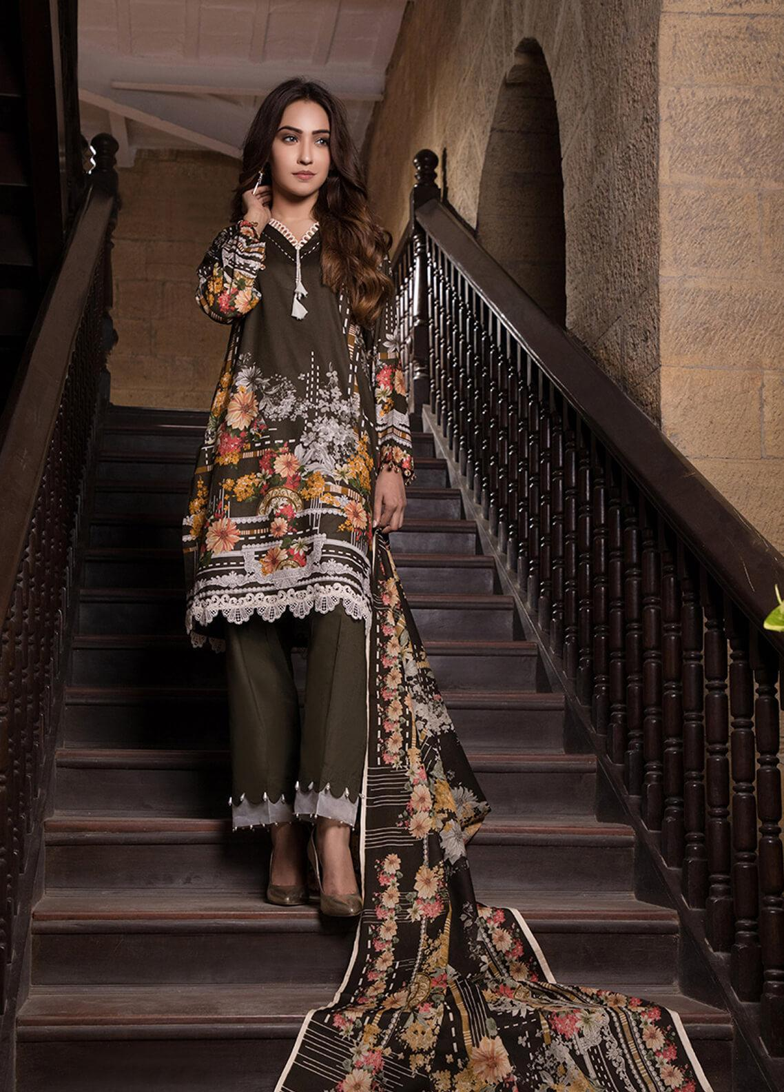 Gul Mohar Printed Lawn Unstitched 3 Piece Suit GM19L 9B - Festive Collection