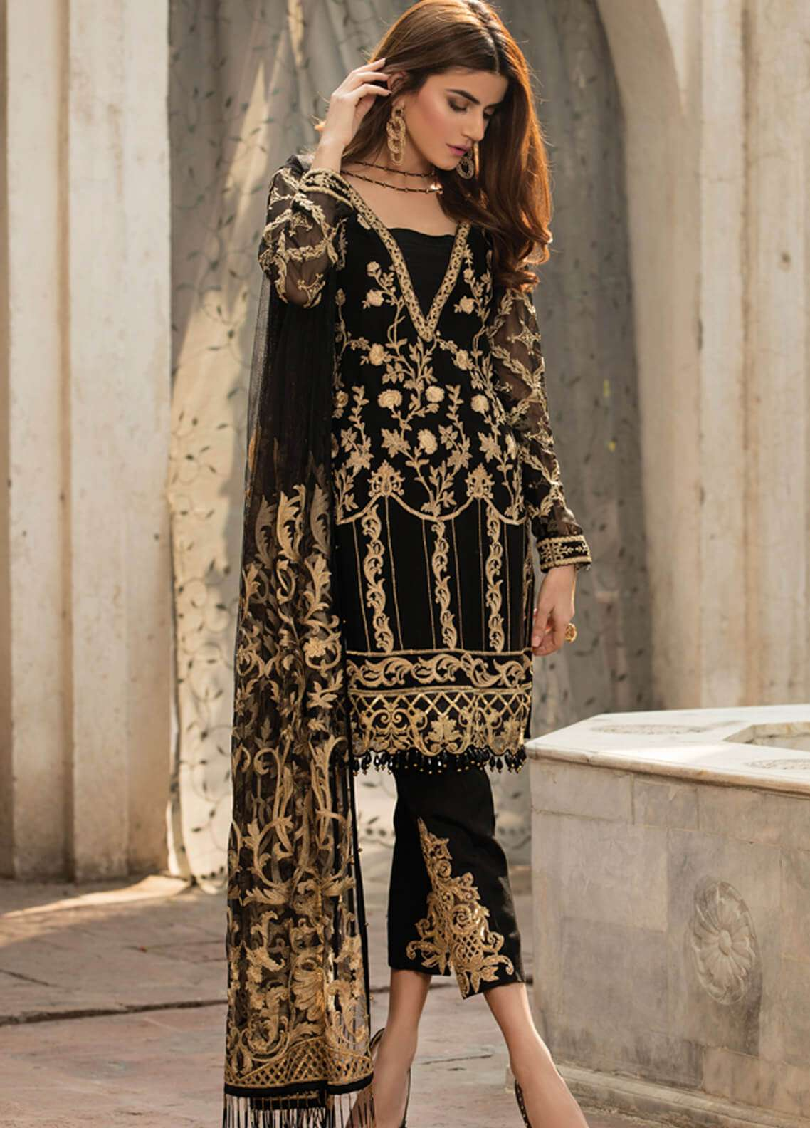 Gulaal Embroidered Chiffon Unstitched 3 Piece Suit GL18-W2 01 - Wedding Collection