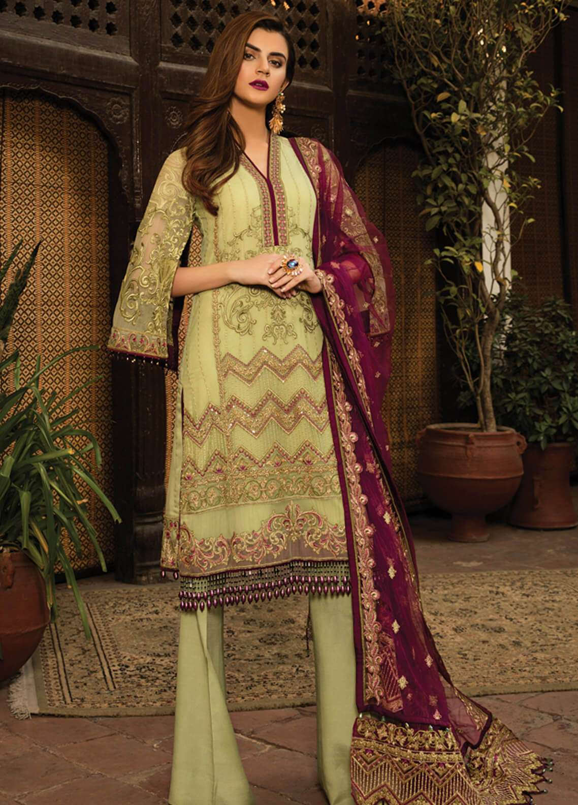 Gulaal Embroidered Chiffon Unstitched 3 Piece Suit GL18-W2 03 - Wedding Collection