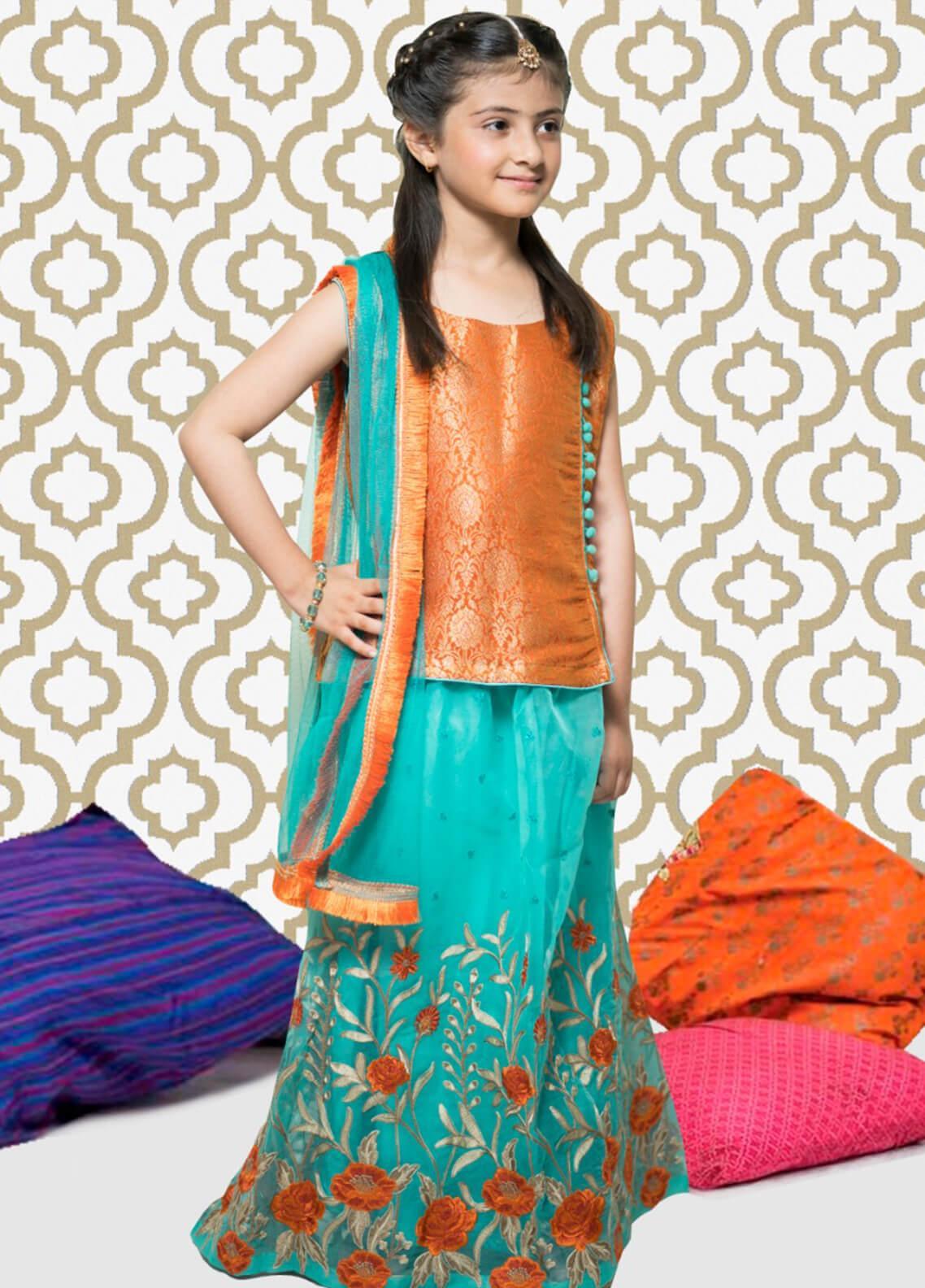 Gulaal Jamawar Embroidered Girls 3 Piece Suit - Sea Green KS-06