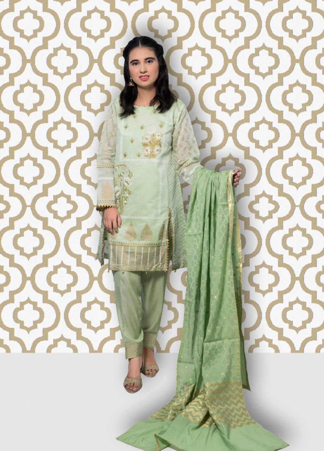 Gulaal Embroidered Chiffon Stitched 3 Piece Suit SK-01 Green