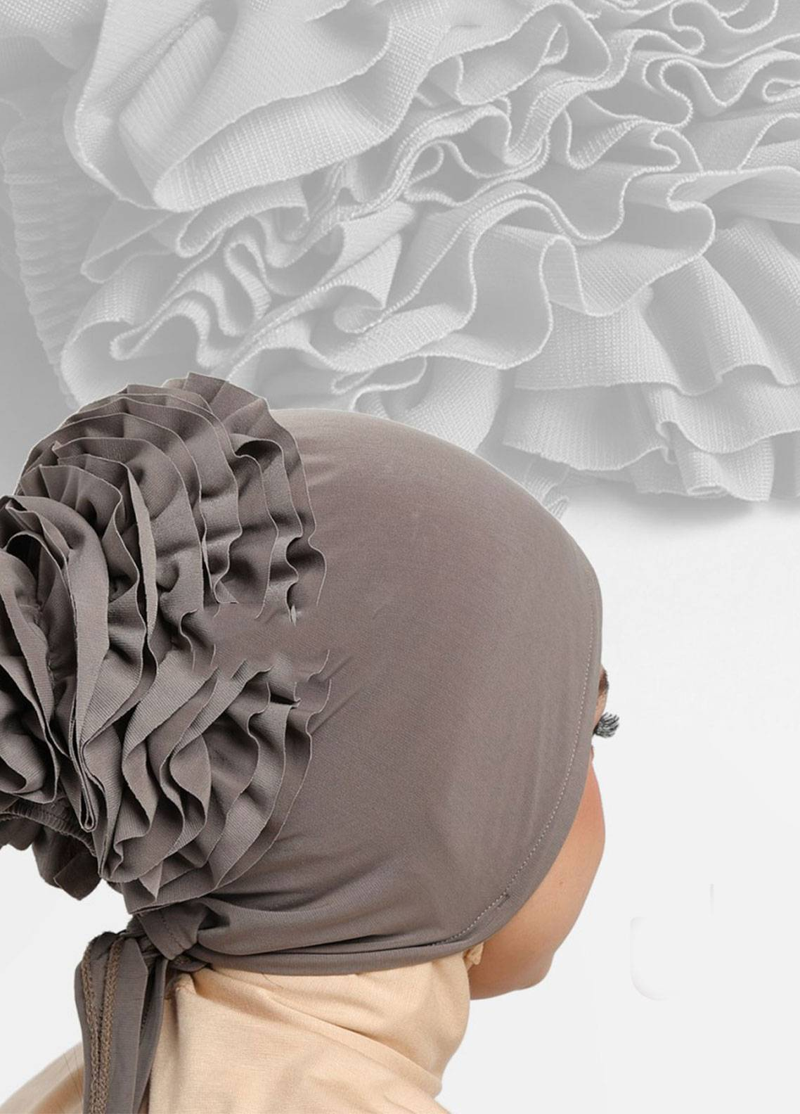Oneto Hijab  Jersey  Hijab's Inner Cap HH Bunga Inner 01 Grey
