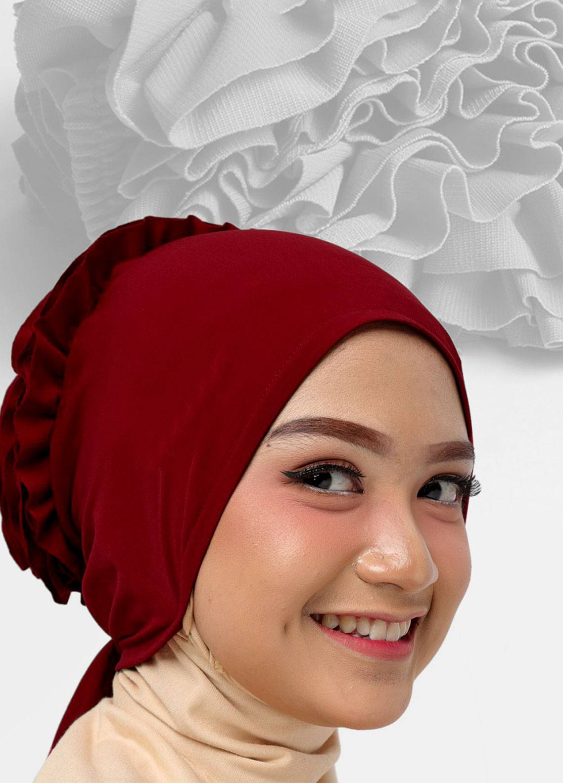 Oneto Hijab  Jersey  Hijab's Inner Cap HH Bunga Inner 02 Red