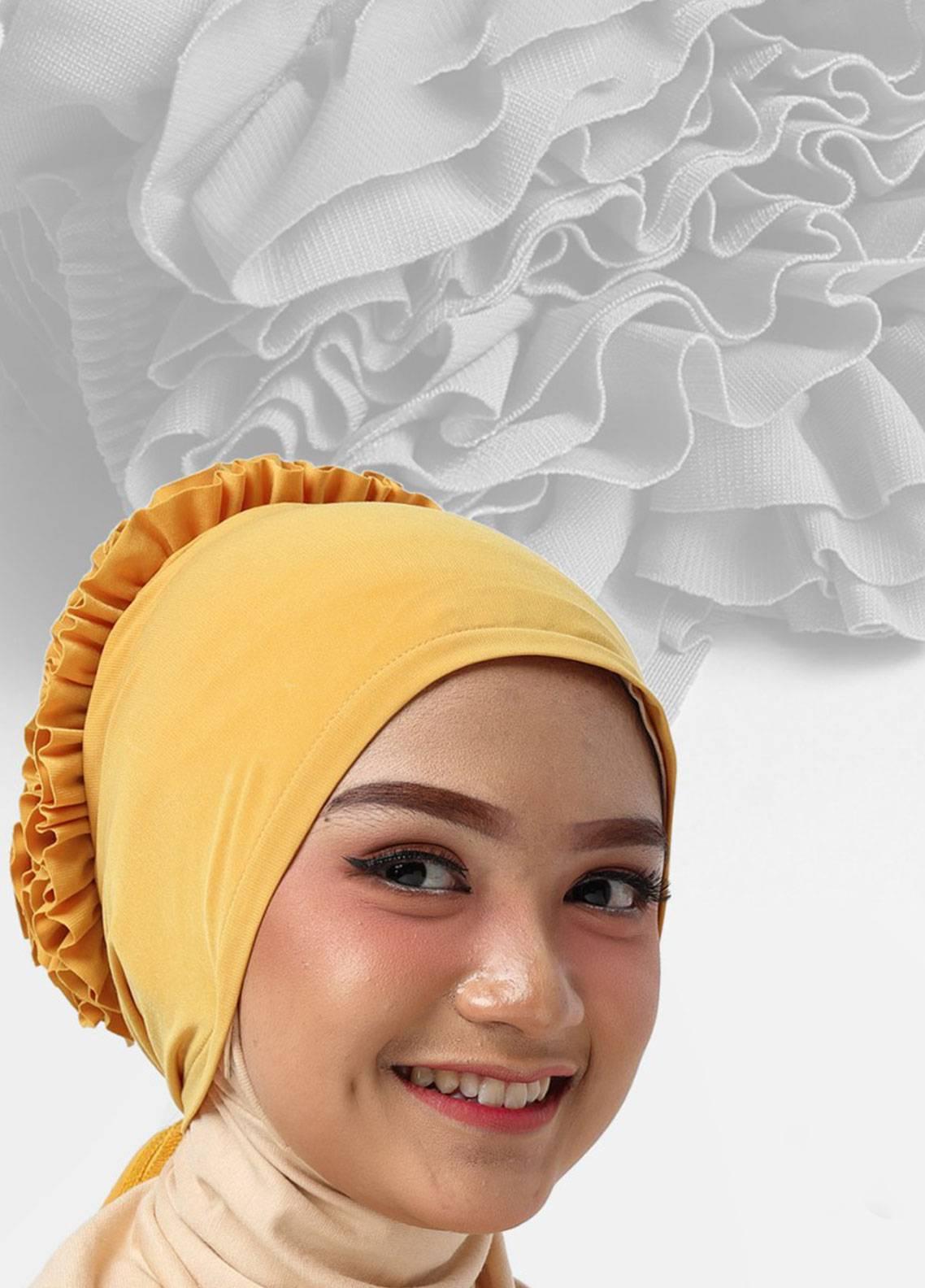 Oneto Hijab  Jersey  Hijab's Inner Cap HH Bunga Inner 03 Yellow
