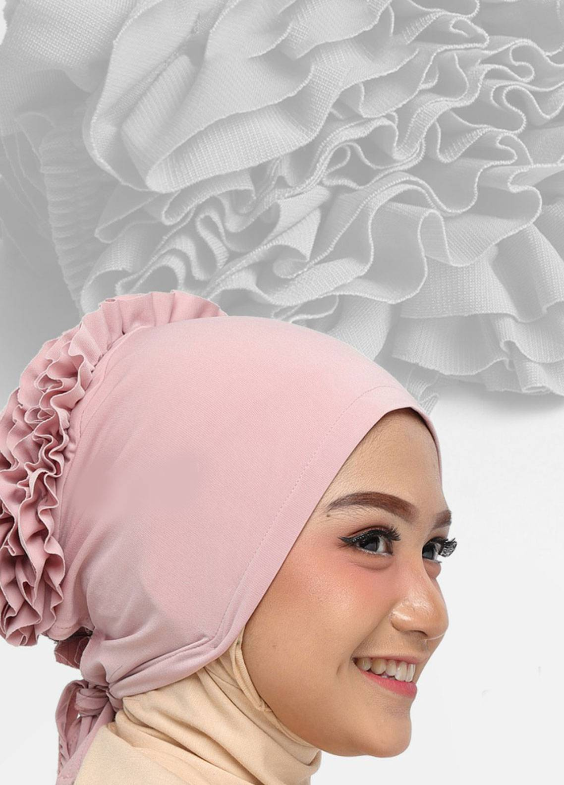 Oneto Hijab  Jersey  Hijab's Inner Cap HH Bunga Inner 06 Pink