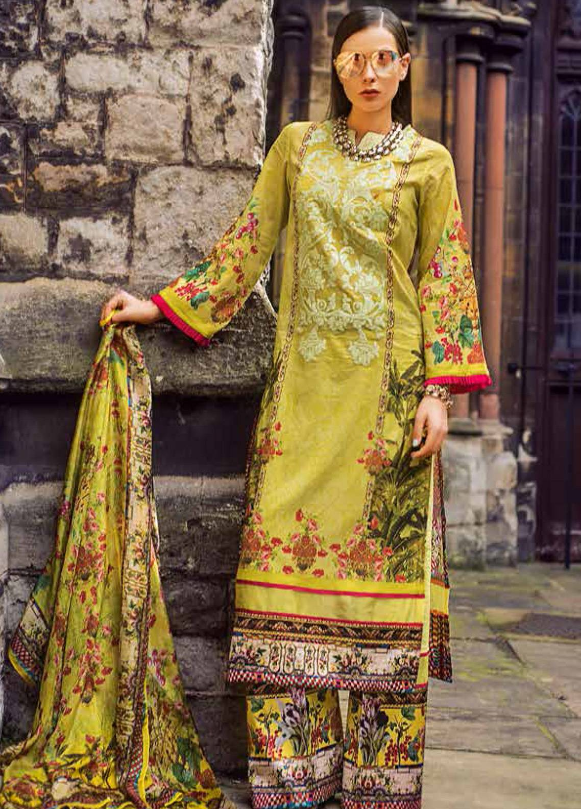 Honey Waqar Embroidered Lawn Unstitched 3 Piece Suit HW19F 1A POETIC WANDERLUST - Festive Collection