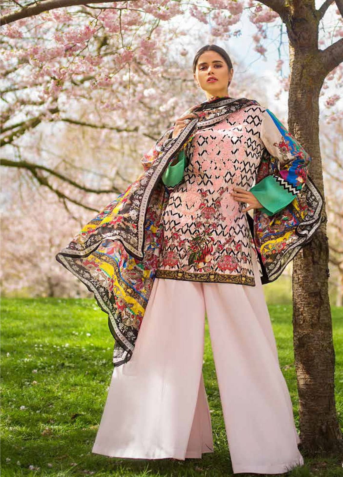 Honey Waqar Embroidered Lawn Unstitched 3 Piece Suit HW19F 4A CARESSING SUN - Festive Collection