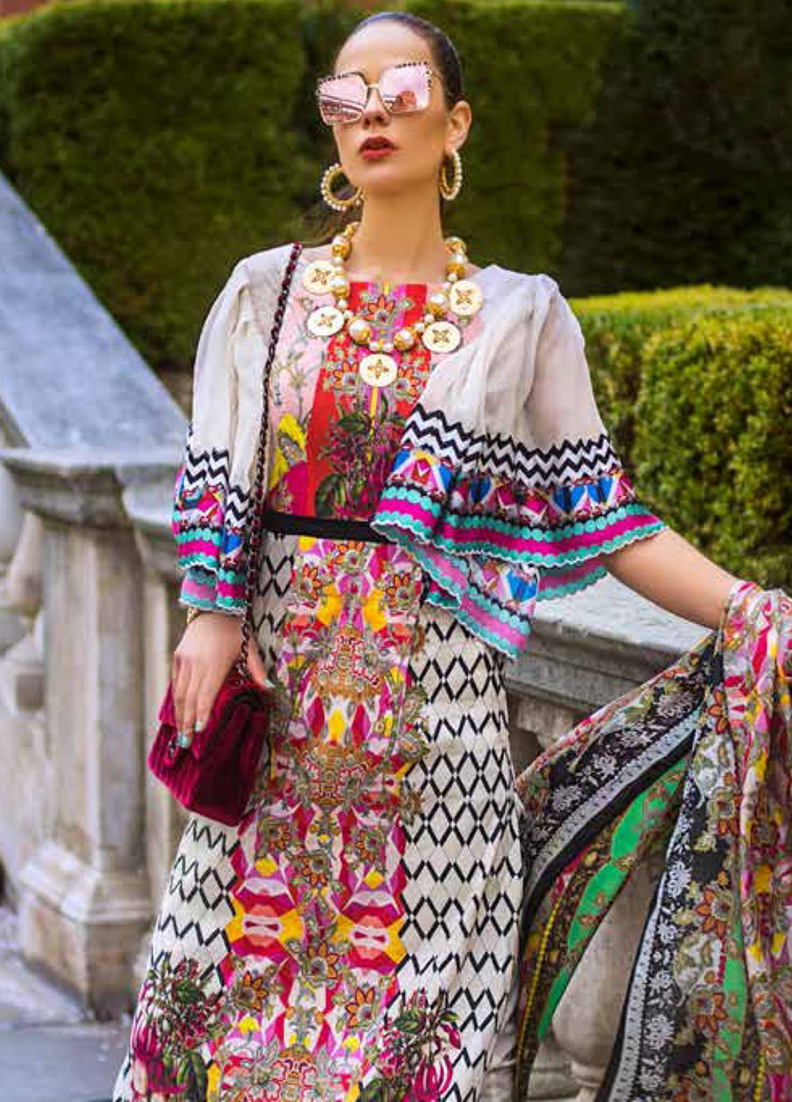 Honey Waqar Embroidered Lawn Unstitched 3 Piece Suit HW19F 4B CARESSING SUN - Festive Collection