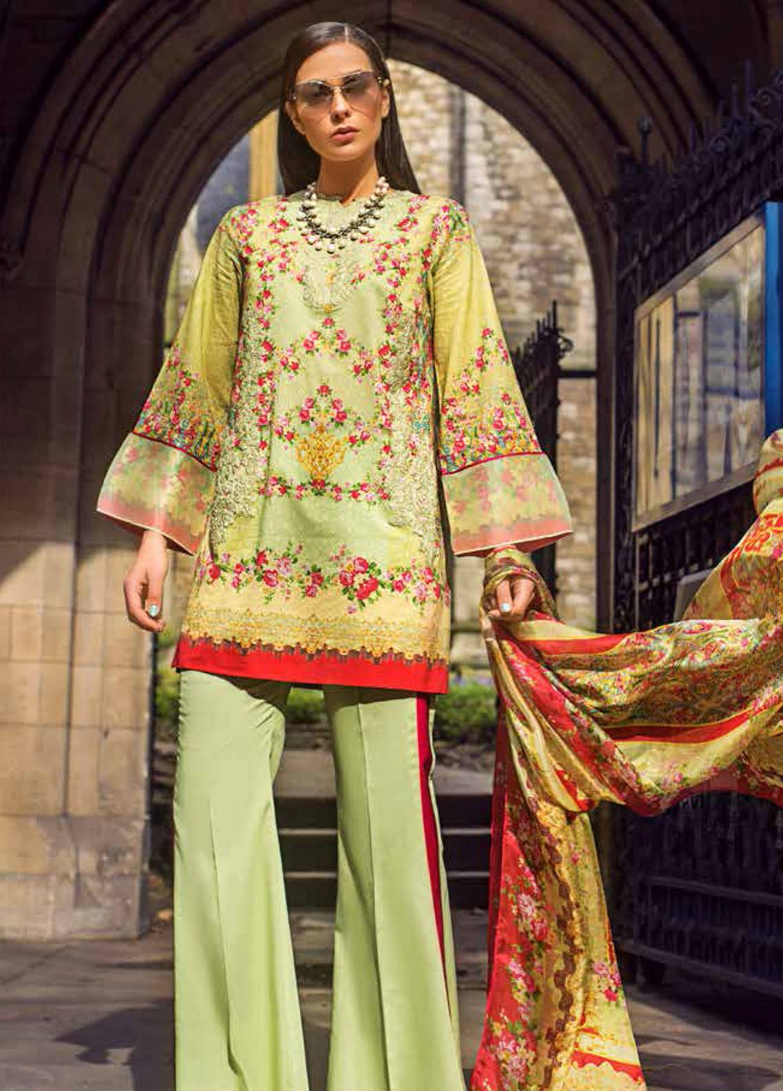 Honey Waqar Embroidered Lawn Unstitched 3 Piece Suit HW19F 8A SYMPHONIC FLORAL - Festive Collection