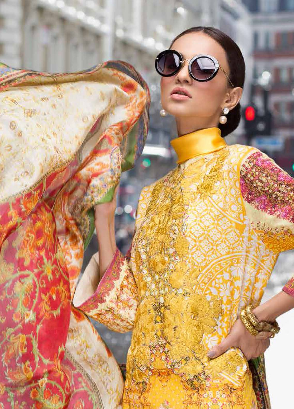 Honey Waqar Embroidered Lawn Unstitched 3 Piece Suit HW19F 10B LA BELLE RUSSE - Festive Collection