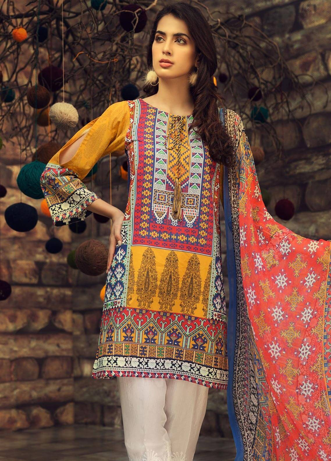 LimeLight Printed Cambric Unstitched 2 Piece Suit INDIAN TRIBES (YELLOW) - Cambric Collection
