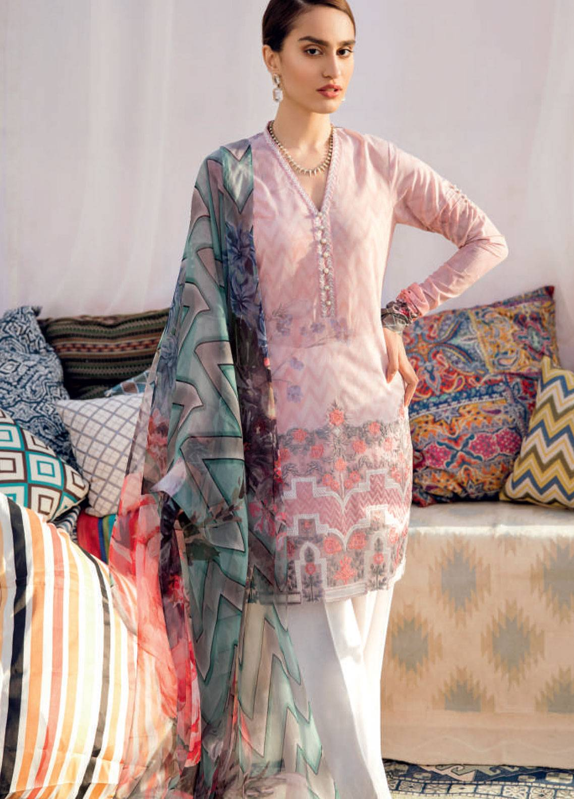 Iznik Chinon Embroidered Lawn Unstitched 3 Piece Suit IZC19-L2 07 - Spring / Summer Collection