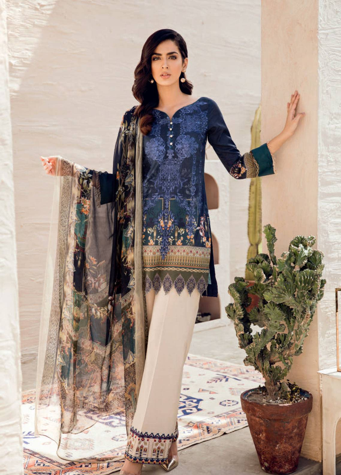 Iznik Chinon Embroidered Lawn Unstitched 3 Piece Suit IZC19-L2 09 - Spring / Summer Collection