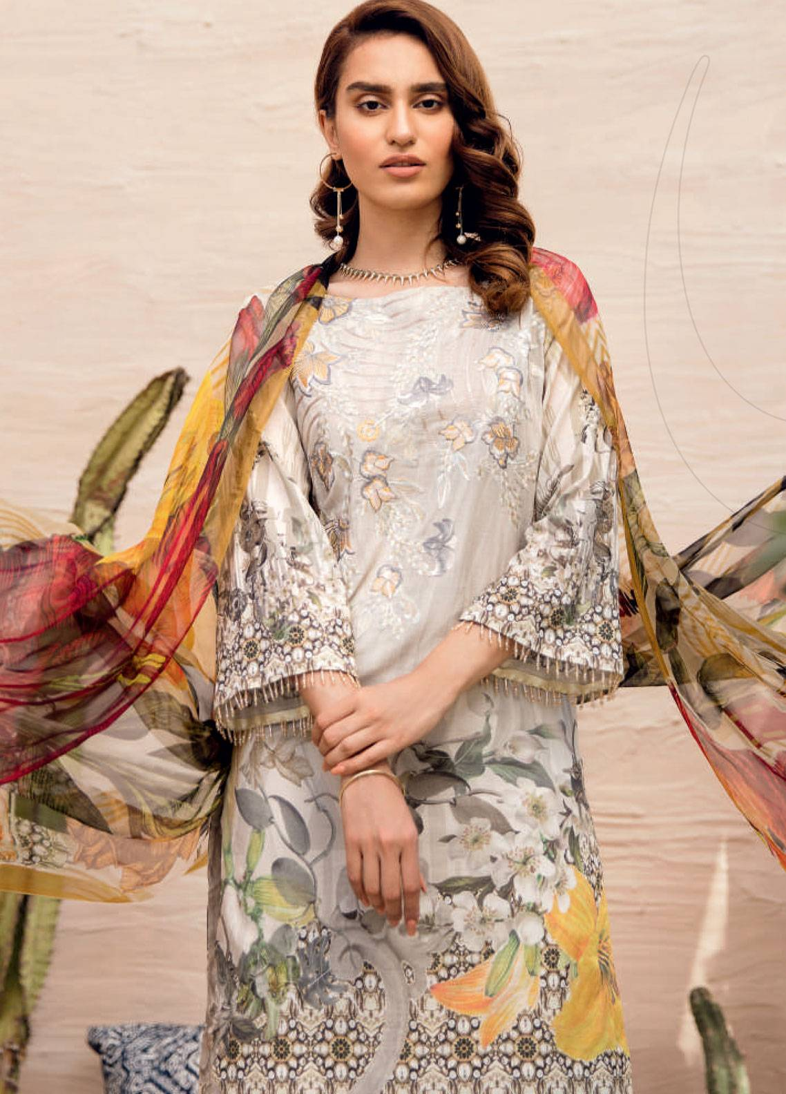 Iznik Chinon Embroidered Lawn Unstitched 3 Piece Suit IZC19-L2 10 - Spring / Summer Collection