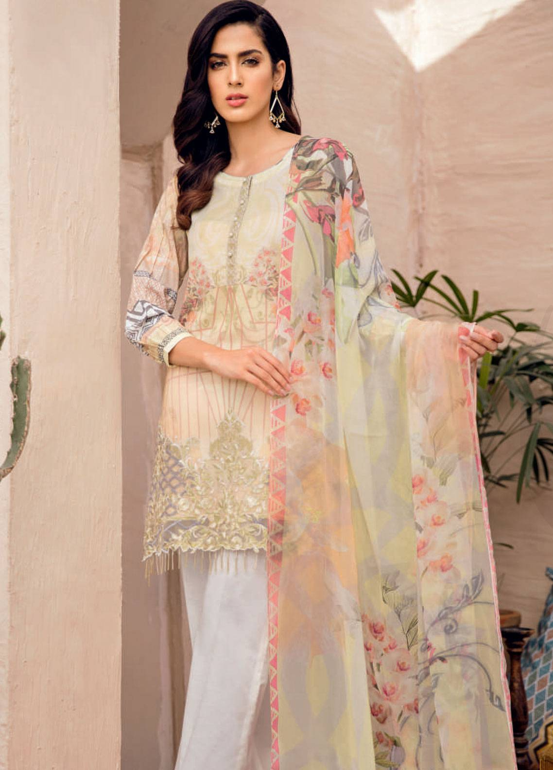 Iznik Chinon Embroidered Lawn Unstitched 3 Piece Suit IZC19-L2 11 - Spring / Summer Collection