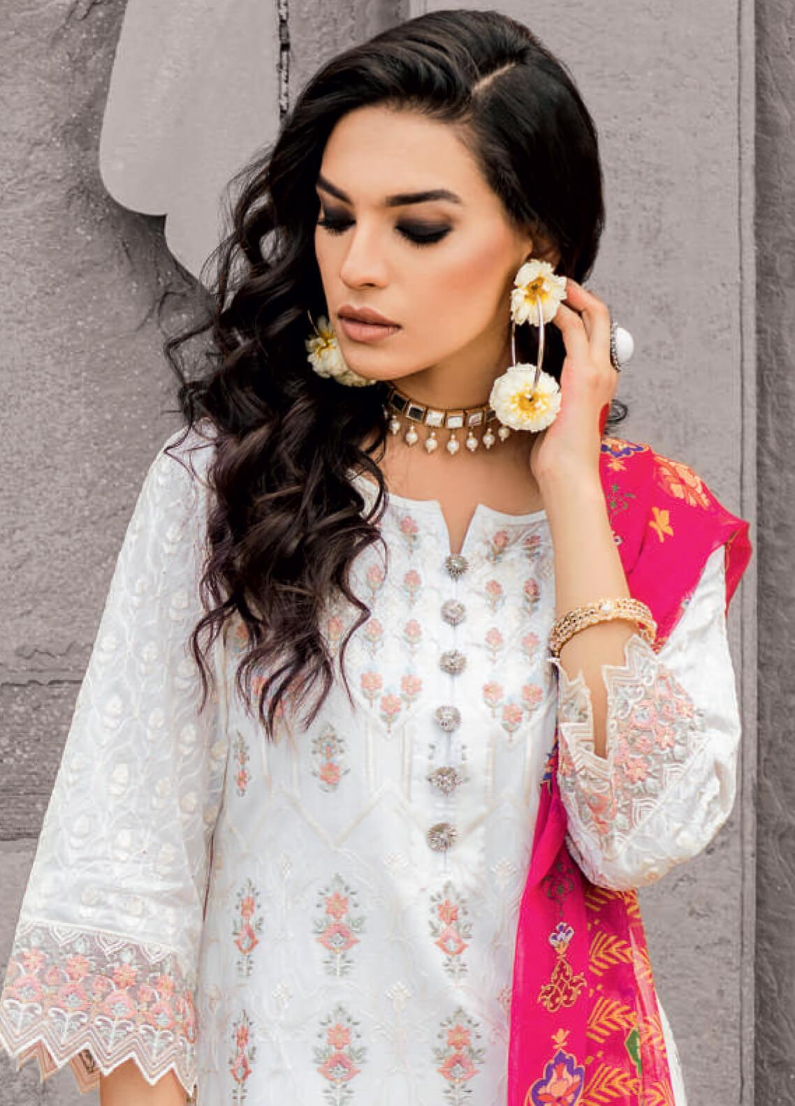 4bd30806e97 Iznik Embroidered Lawn Unstitched 3 Piece Suit IZ19F 01 SAFAID MOTI -  Festive Collection