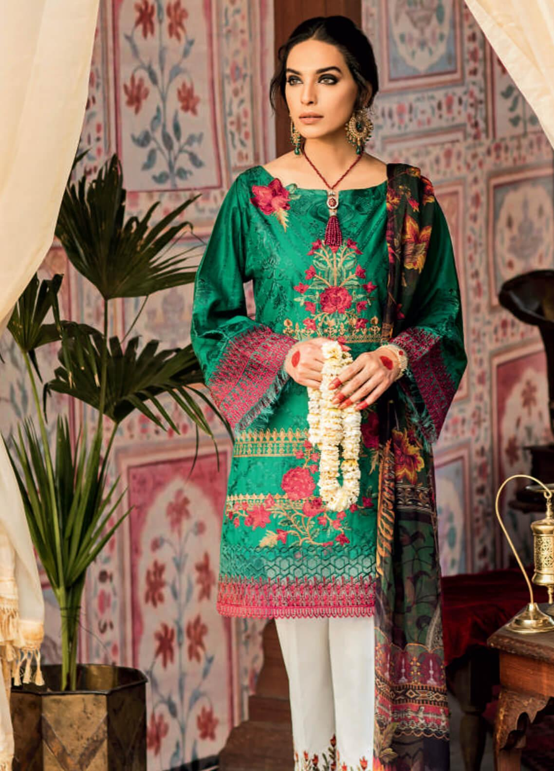 Iznik Embroidered Lawn Unstitched 3 Piece Suit IZ19F 03 ZAMRUD - Festive Collection